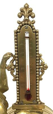 Stunning Antique Brass Griffin Novelty Desk Thermometer And Alarm Clock 8