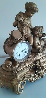 Large Antique ornate, French 8 Day bell striking mantle clock.Circa 1890's. 8