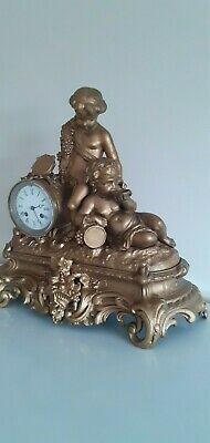 Large Antique ornate, French 8 Day bell striking mantle clock.Circa 1890's. 4