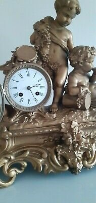 Large Antique ornate, French 8 Day bell striking mantle clock.Circa 1890's. 6