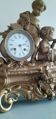 Large Antique ornate, French 8 Day bell striking mantle clock.Circa 1890's. 7