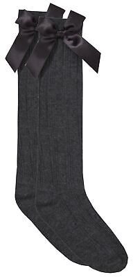 Cottonique Girls Knee High Cable Socks with Ribbon Bow 7