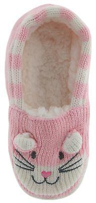RJM Girls Soft Knitted Cat Slipper Socks with Grippy Soles 9