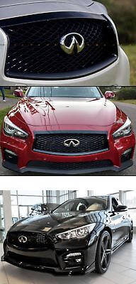 For 2014-17 Infiniti Q50 High Gloss Black Out Front Hood Upper Grill Replacement 4