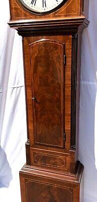 ~ Antique Inlaid Mahogany Longcase Grandfather Library Clock : DARLING EDINBURGH 8