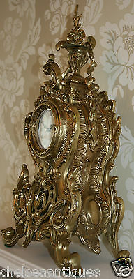 ANTIQUE Louis XV French Bronze Clock Gilt Ormolu Mantel Tall/Large Ornate/Rococo 2