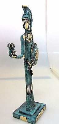 Ancient Greek Bronze Museum Statue Replica Athena Wth Shield & Owl Collectable 2