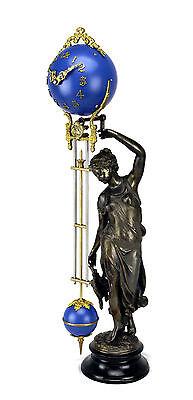 Beautiful Ansonia Cut 8 Day Movement Brass Huntress Lady Mystery Swinger Clock 3