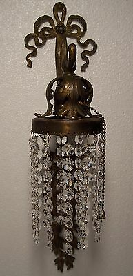Vtg Cast Brass Sconce French Rococo Waterfall Ribbon Light Wisconsin USA #W93 3