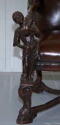 1850 Palatial Venetian Carved Walnut Leather Bench Valentino Panciera Besarel 9