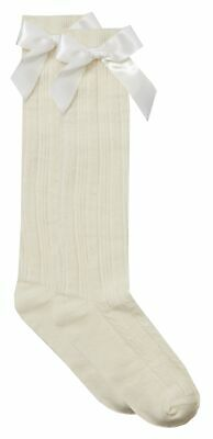 Cottonique Girls Knee High Cable Socks with Ribbon Bow 5