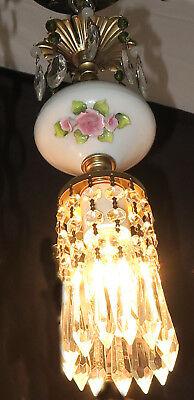 Vintage Capodimonte PInk ROSE porcelain Brass swag lamp chandelier French Apartm 5