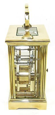 French Brass Carriage Clock with Bevelled Glass & Winding Key WORKING 6