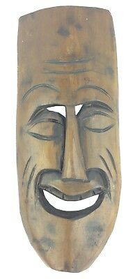 Vintage Antique Hand Carved Wooden Laughing Face Mask Wall Hanging Sculpture 5
