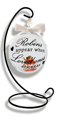 Robins Appear When Loved Ones Are Near Bauble Christmas Tree Decoration Memorial 3