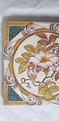 Stunning Floral Motif Antique Six Inch Tile 2