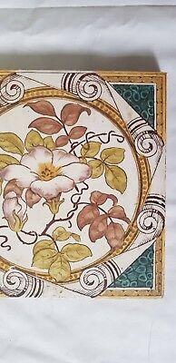 Stunning Floral Motif Antique Six Inch Tile 3