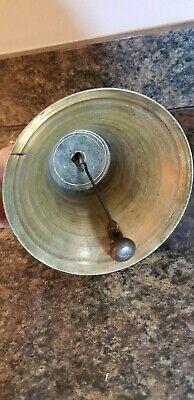 Large Antique School Church Factory Brass Bell No. 10 Wooden Handle 6