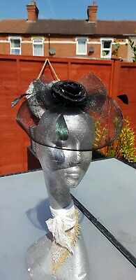 Top Hat Clip In Fascinator Black Wedding Races Occasion Formal Party Church 2