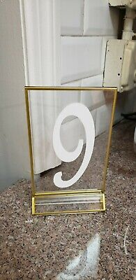 Acrylic Sign Holders With Gold Border, Pack Of 6 Double Sided Clear with Numbers 2