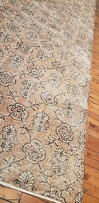 """Rare 1930-1939s Antique Wool Pile 7'3""""× 10""""4"""" Muted Dye Primitive Oushak Rug 6"""
