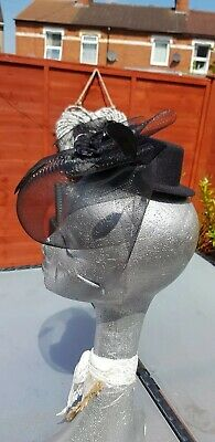 Top Hat Clip In Fascinator Black Wedding Races Occasion Formal Party Church 4