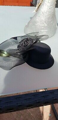 Top Hat Clip In Fascinator Black Wedding Races Occasion Formal Party Church 3