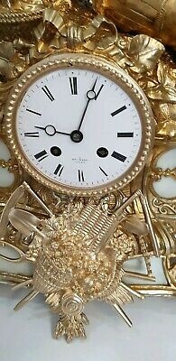 Antique French 8 day BRASS &MARBLE clock. Signed by Henry Marc  and Japy Freres. 11