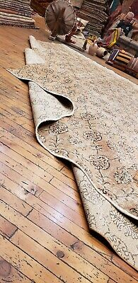 """Rare 1930-1939s Antique Wool Pile 7'3""""× 10""""4"""" Muted Dye Primitive Oushak Rug 10"""
