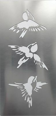 Chinese Brush Stroke Calligraphy Style Birds Stainless Steel Stencil 14cm x 7cm