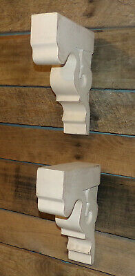 "2pc Set Rustic Wood Corbels Distressed White 9"" Corbels Brackets Shelves 3"