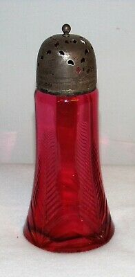 Antique cut cranberry art glass sugar shaker muffineer sifter 1880 leaf or tree 6