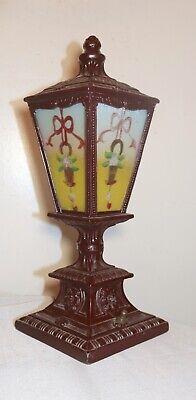 pair of antique vintage ornate reverse painted glass metal table boudoir lamps 4
