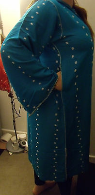 Moroccan     Djellaba    Kaftan      Blue & White   North African Dress 7