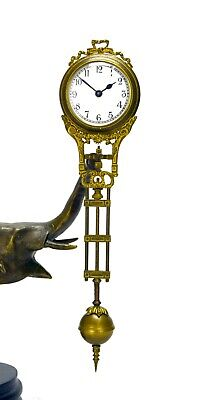 German Style Junghans Brass Elephant Figure 8 Day Swinging Swinger Clock 6