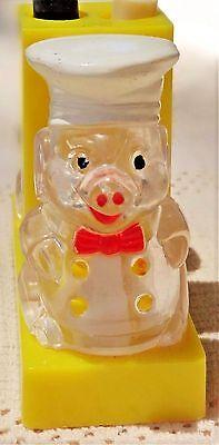 Vintage Plastic Pig Mechanical Salt and Pepper Set by Enesco Hong Kong