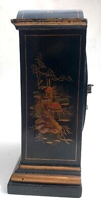 Chinoiserie Bracket Mantel Clock Hand Painted Black And Gold With Engraved Dial 5