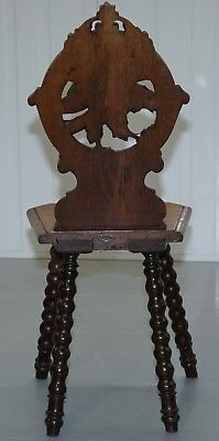 Rare 19Th Century Black Forrest Carved Hall Chair Hand Carved Hawk Bobbin Turned 9