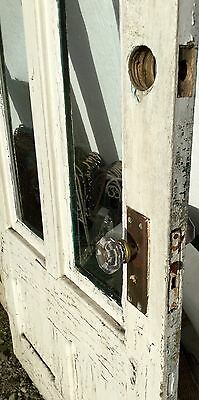 Old Vtg Antique House Entry Chippy Crackle White Paint 2 Glass Pane Door 8