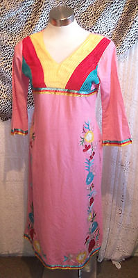 Pink Vintage Indian Tunic top.calf length,side splits, embroidered ruffle detail 3