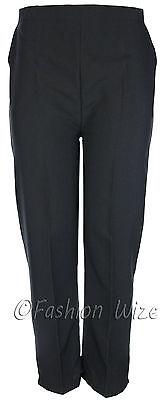 Sizes 8-30 Ladies Half Elastic Generous Fit Plus Fit Waist Comfort Fit Trousers 5