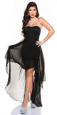 Vestito vestitino mini abito coda Donna Dress Chiffon Cerimonia Party Club 1009