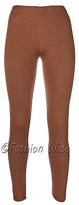 Ages 2-13 (20+ Colours) Girls Plain Full Length Legging Brown Black Grey White 5