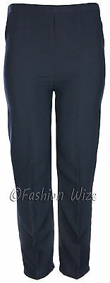 Sizes 8-30 Ladies Half Elastic Generous Fit Plus Fit Waist Comfort Fit Trousers 8