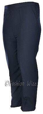 Sizes 8-30 Ladies Half Elastic Generous Fit Plus Fit Waist Comfort Fit Trousers 10