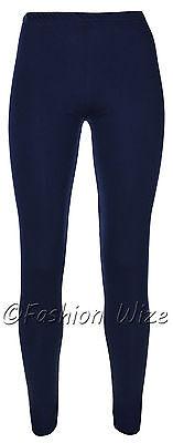 Ages 2-13 (20+ Colours) Girls Plain Full Length Legging Brown Black Grey White 4