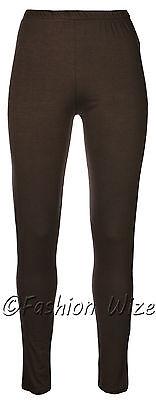 Ages 2-13 (20+ Colours) Girls Plain Full Length Legging Brown Black Grey White 3