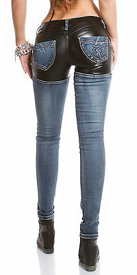 Women's Faux Leather & Denim Skinny Jeans - XS/S/M/L/XL