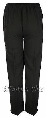 Sizes 8-30 Ladies Half Elastic Generous Fit Plus Fit Waist Comfort Fit Trousers 11