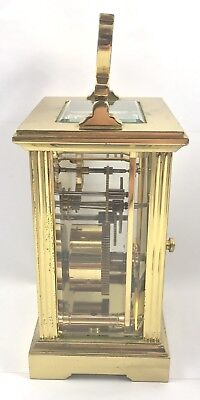 FRASER HART Brass Carriage Mantel Clock Timepiece with Key  Working Order 3